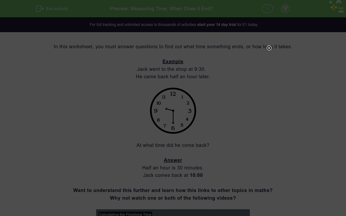 'Measuring Time: When Does it End?' worksheet