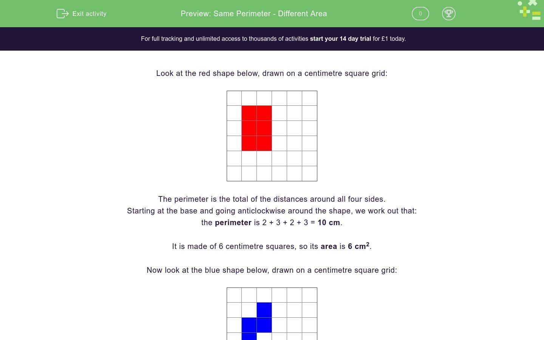 'Same Perimeter - Different Area' worksheet