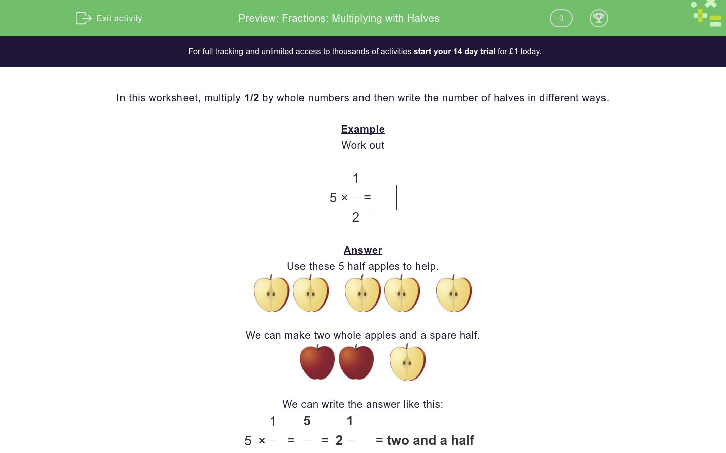 'Fractions: Multiplying with Halves' worksheet