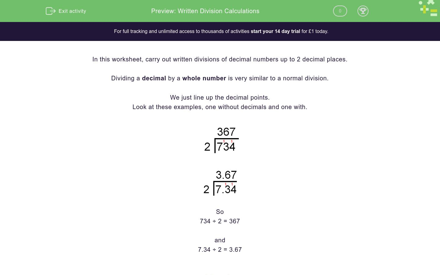 'Written Division Calculations' worksheet