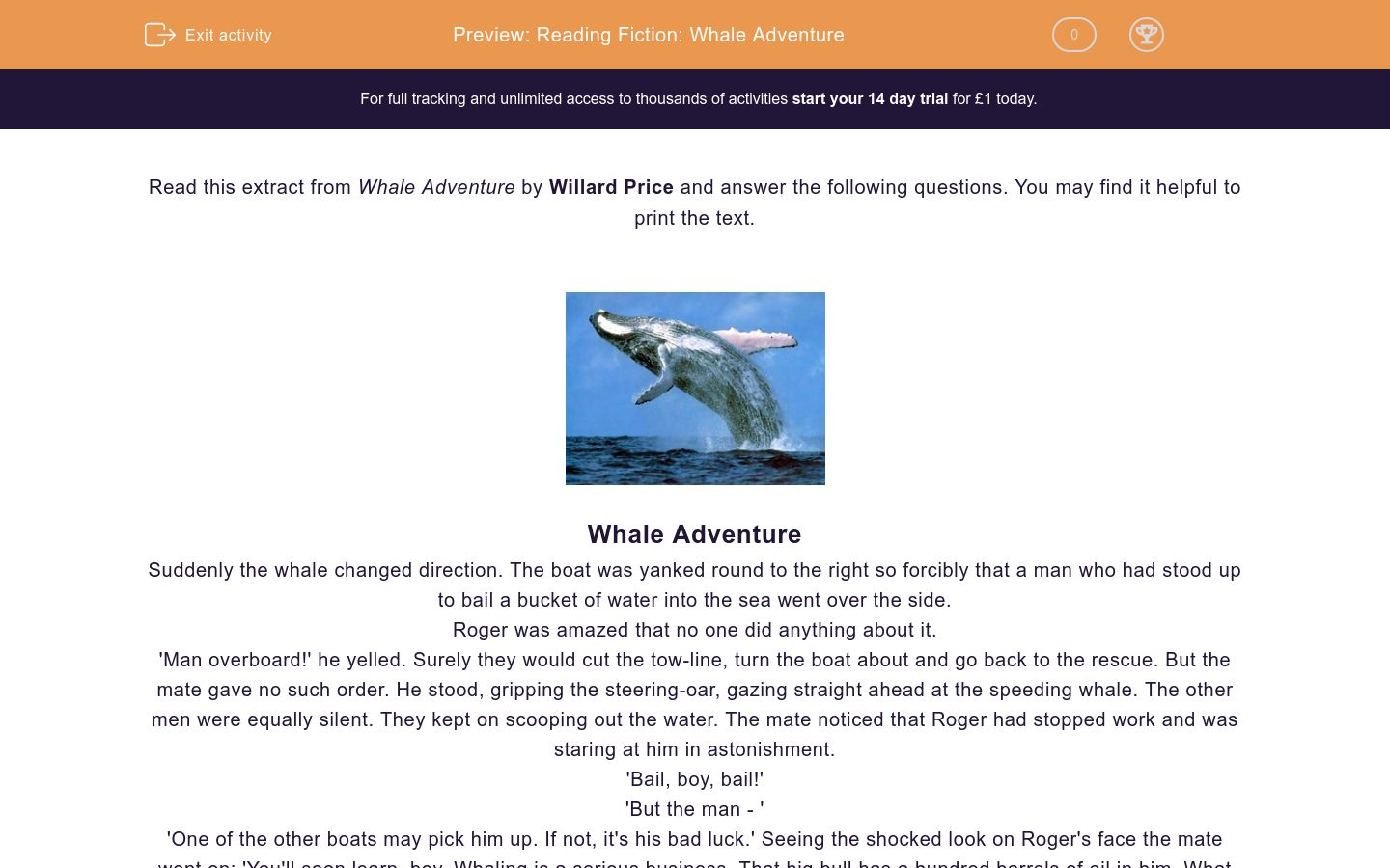 'Reading Fiction: Whale Adventure' worksheet