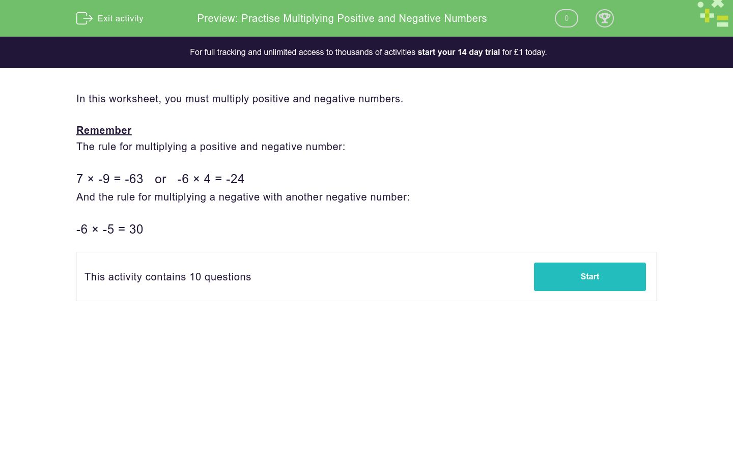 'Practise Multiplying Positive and Negative Numbers' worksheet