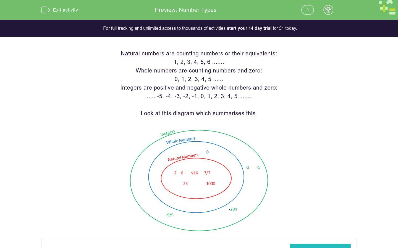 'Number Types' worksheet
