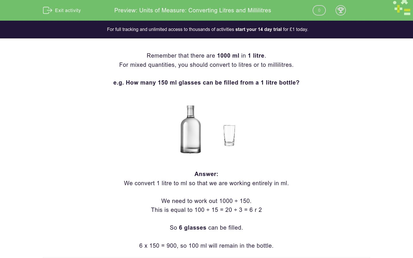'Units of Measure: Converting Litres and Millilitres' worksheet