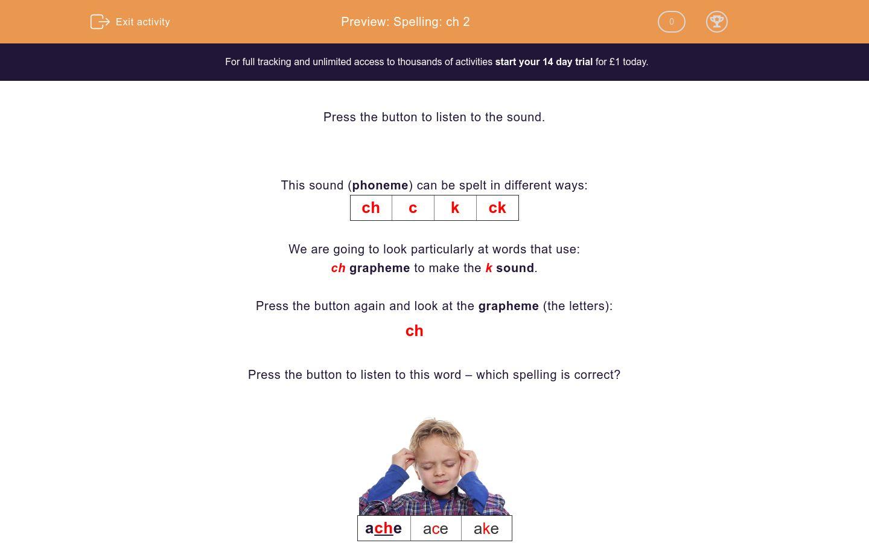 'Spelling: ch 2' worksheet