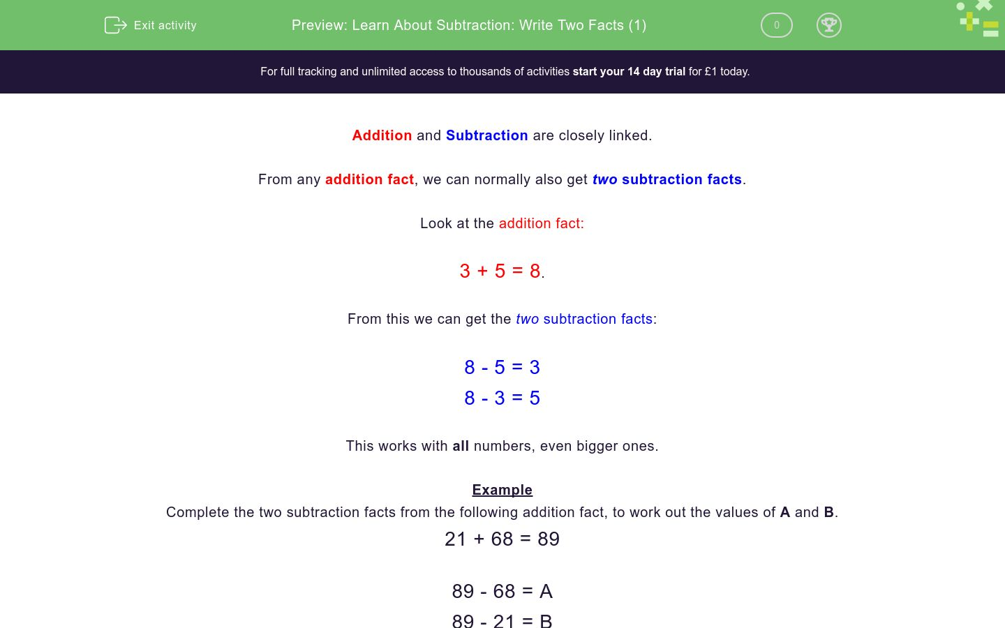 'Learn About Subtraction: Write Two Facts (1)' worksheet