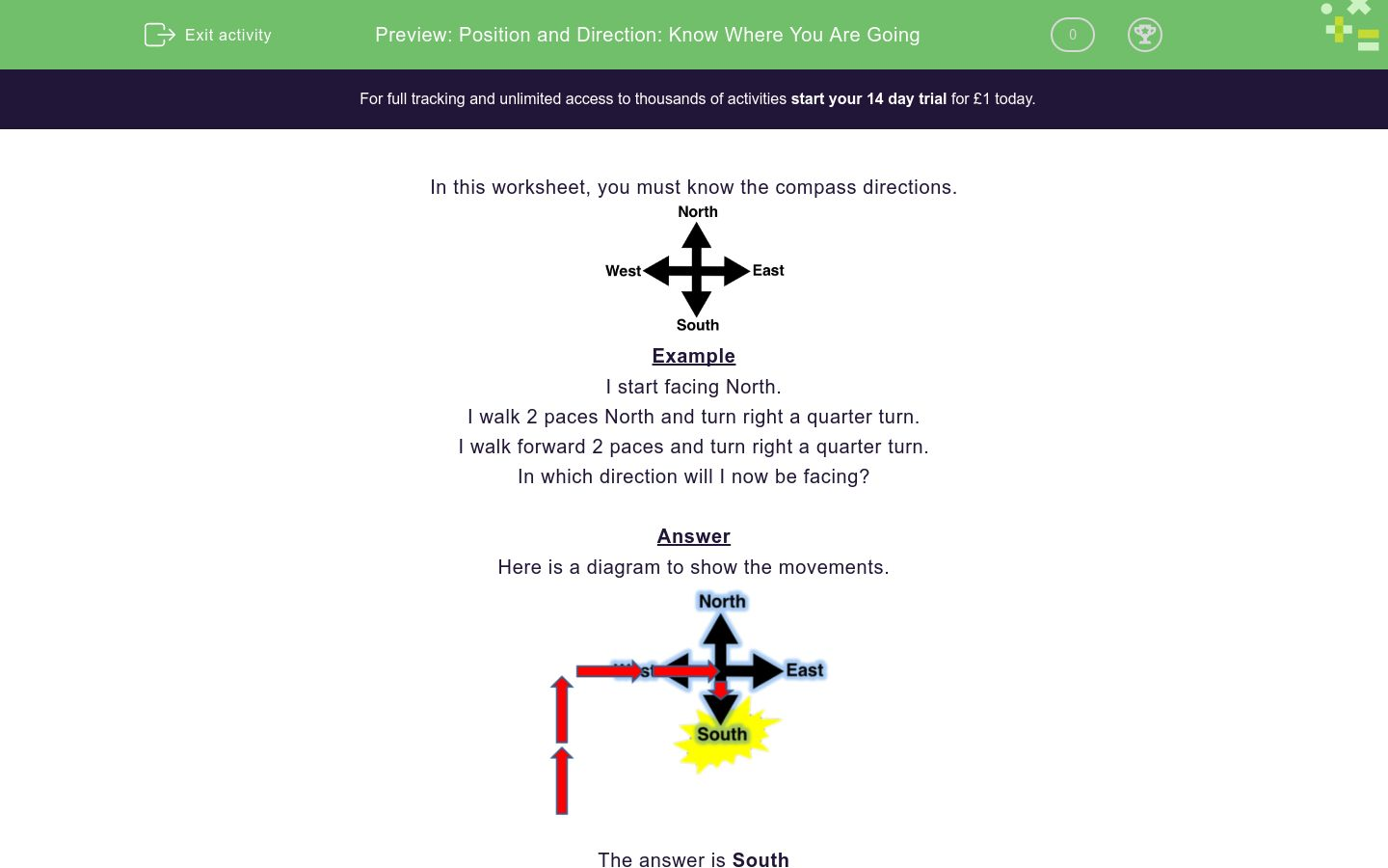 'Position and Direction: Know Where You Are Going' worksheet