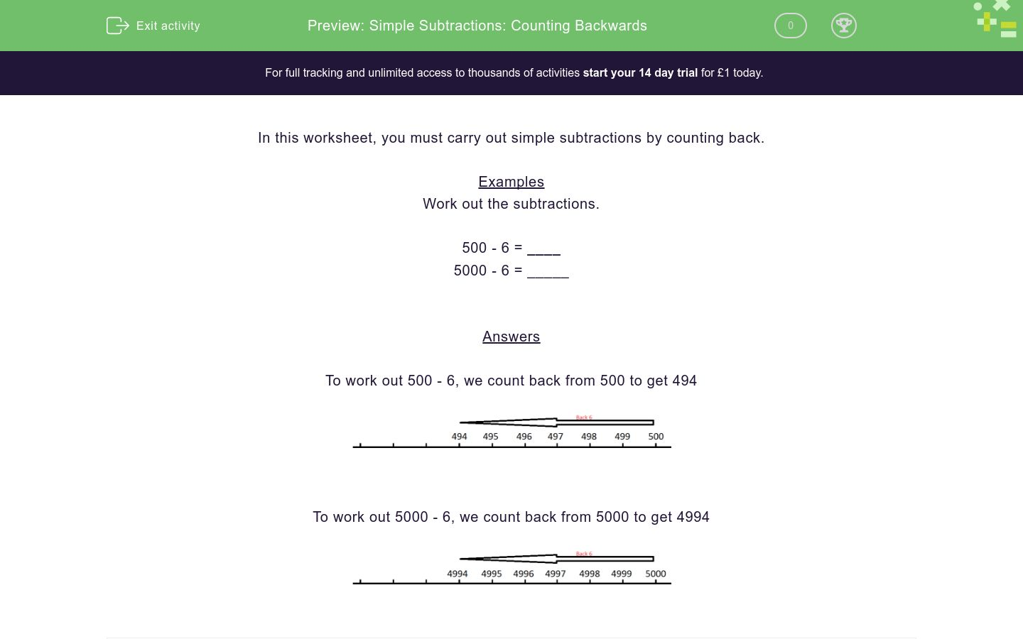'Simple Subtractions: Counting Backwards' worksheet