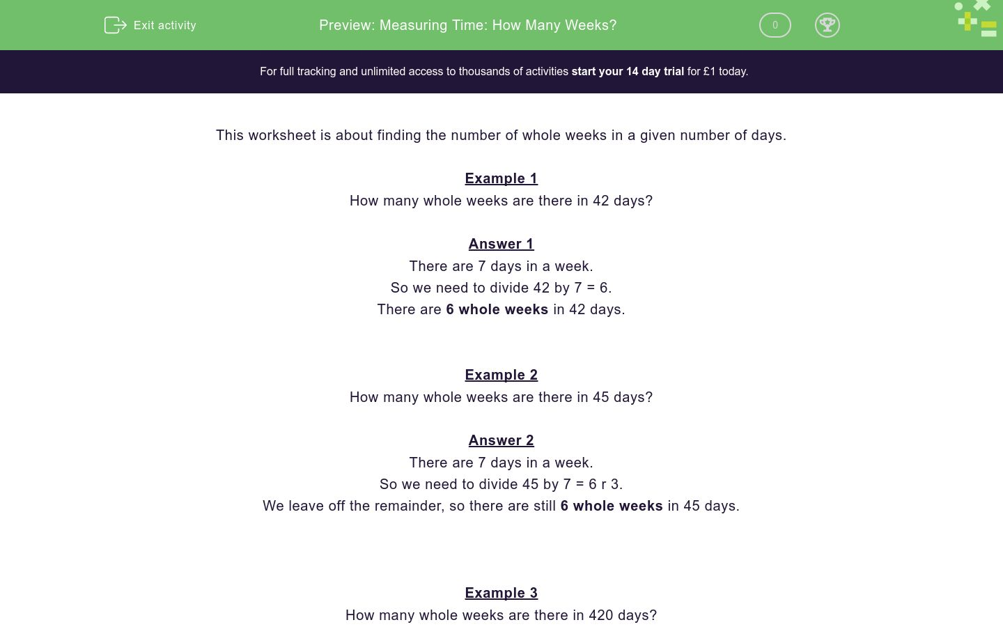 Measuring Time: How Many Weeks? Worksheet - EdPlace