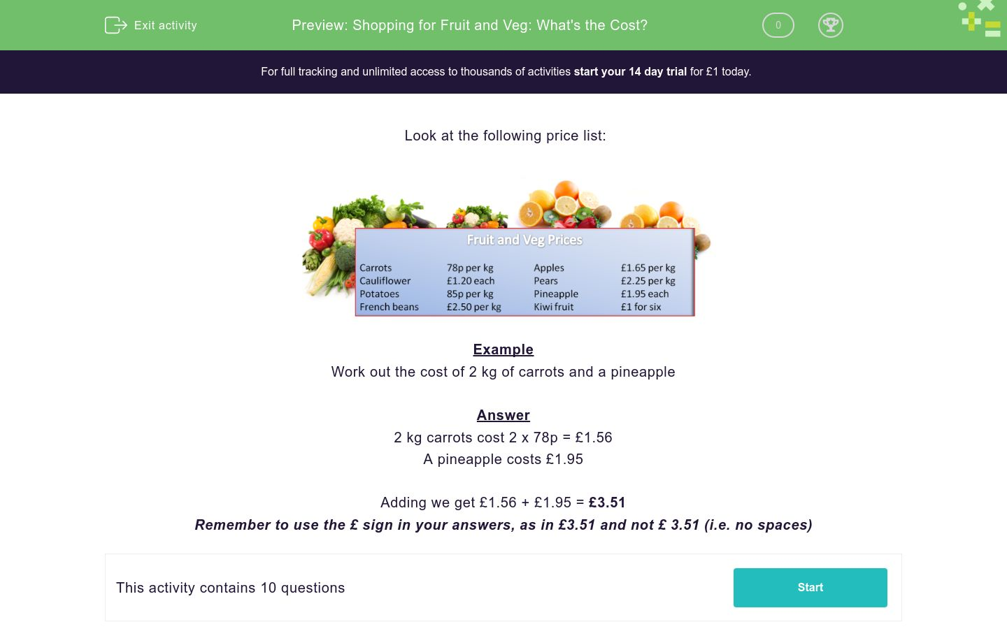 'Shopping for Fruit and Veg: What's the Cost?' worksheet