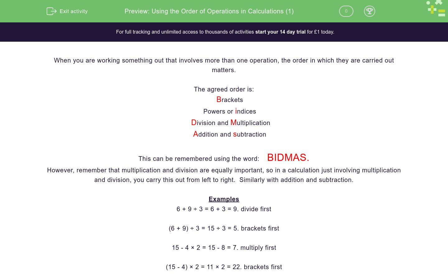 'Using the Order of Operations in Calculations (1)' worksheet