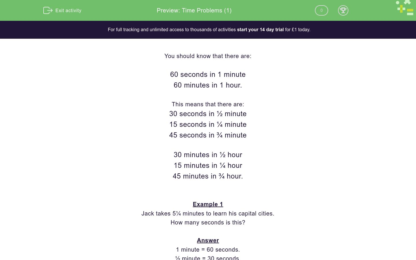 'Time Problems (1)' worksheet