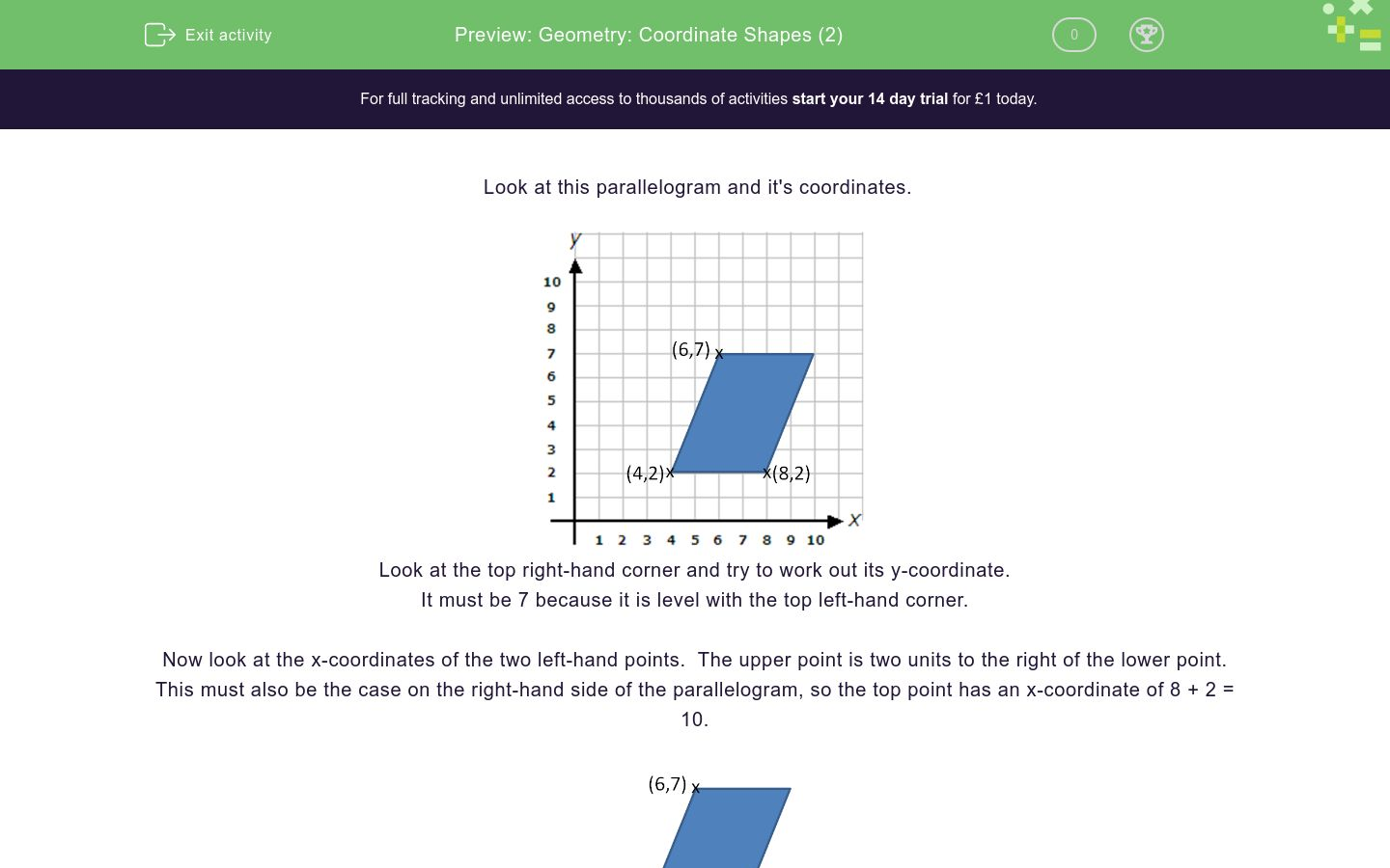 'Geometry: Coordinate Shapes (2)' worksheet