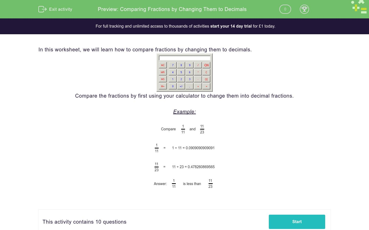 'Comparing Fractions by Changing Them to Decimals' worksheet