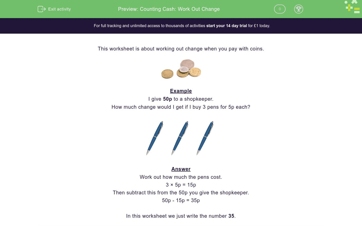 'Counting Cash: Work Out Change' worksheet