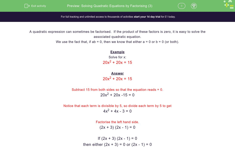 'Solving Quadratic Equations by Factorising (3)' worksheet
