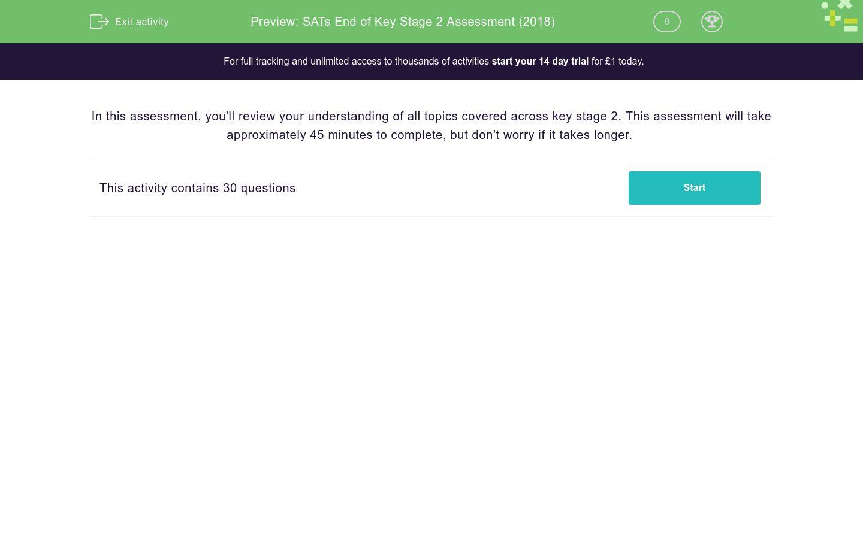 'SATs End of Key Stage 2 Assessment (2018)' worksheet