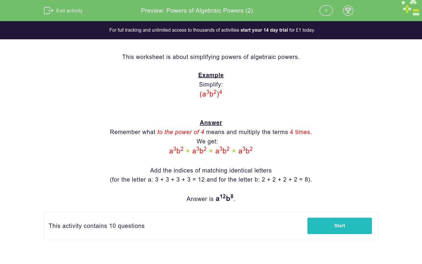 'Powers of Algebraic Powers (2)' worksheet