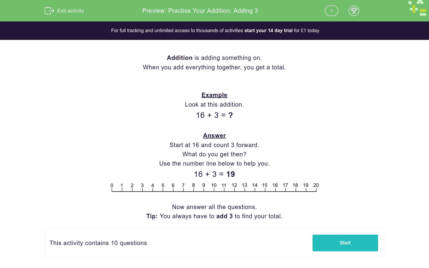 'Practise Your Addition: Adding 3' worksheet