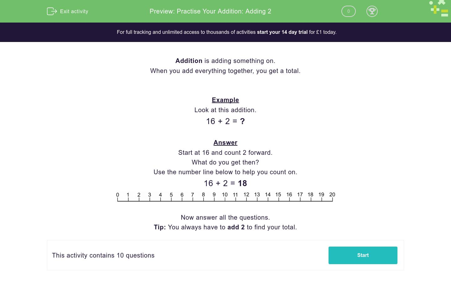 'Practise Your Addition: Adding 2' worksheet