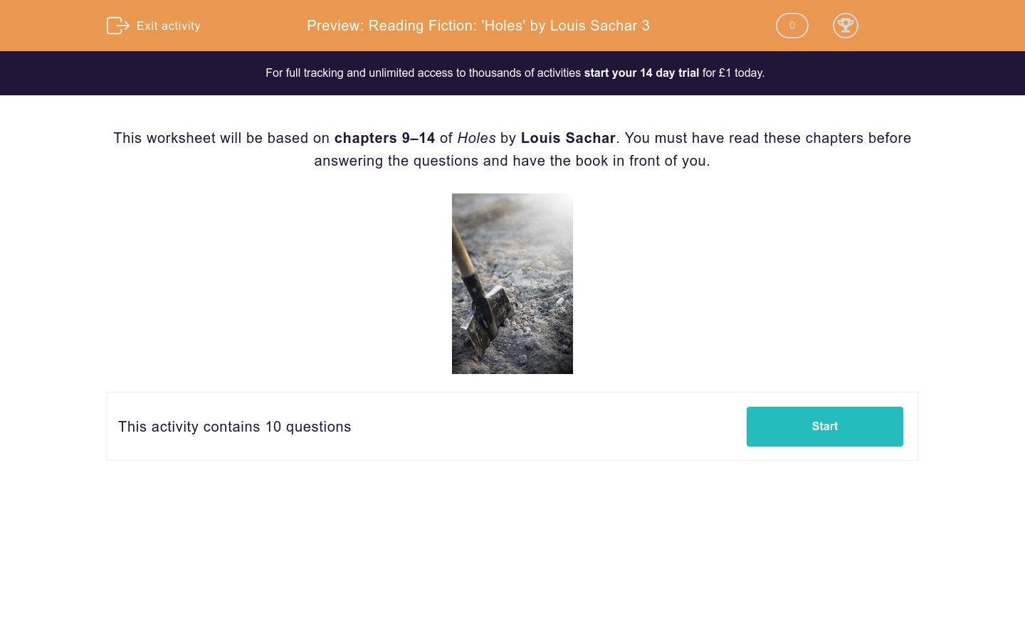 'Reading Fiction: 'Holes' by Louis Sachar 3' worksheet