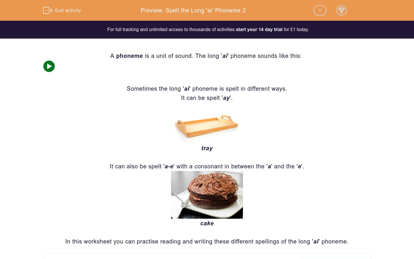 'Spell the Long 'ai' Phoneme 2' worksheet