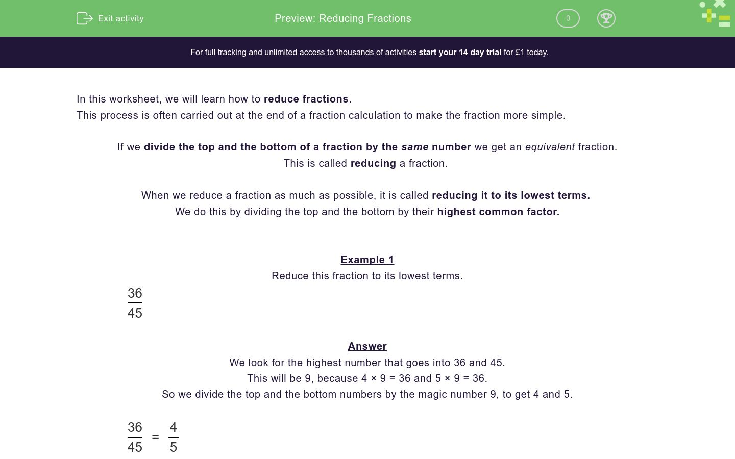 'Reducing Fractions' worksheet