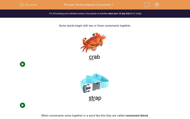 'Revise Adjacent Consonants 1' worksheet