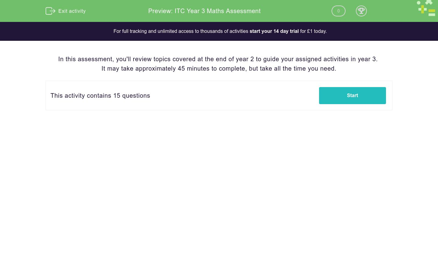 'ITC Year 3 Maths Assessment' worksheet