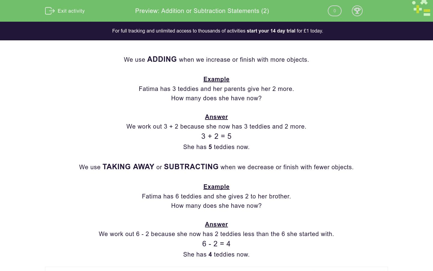 'Addition or Subtraction Statements (2)' worksheet