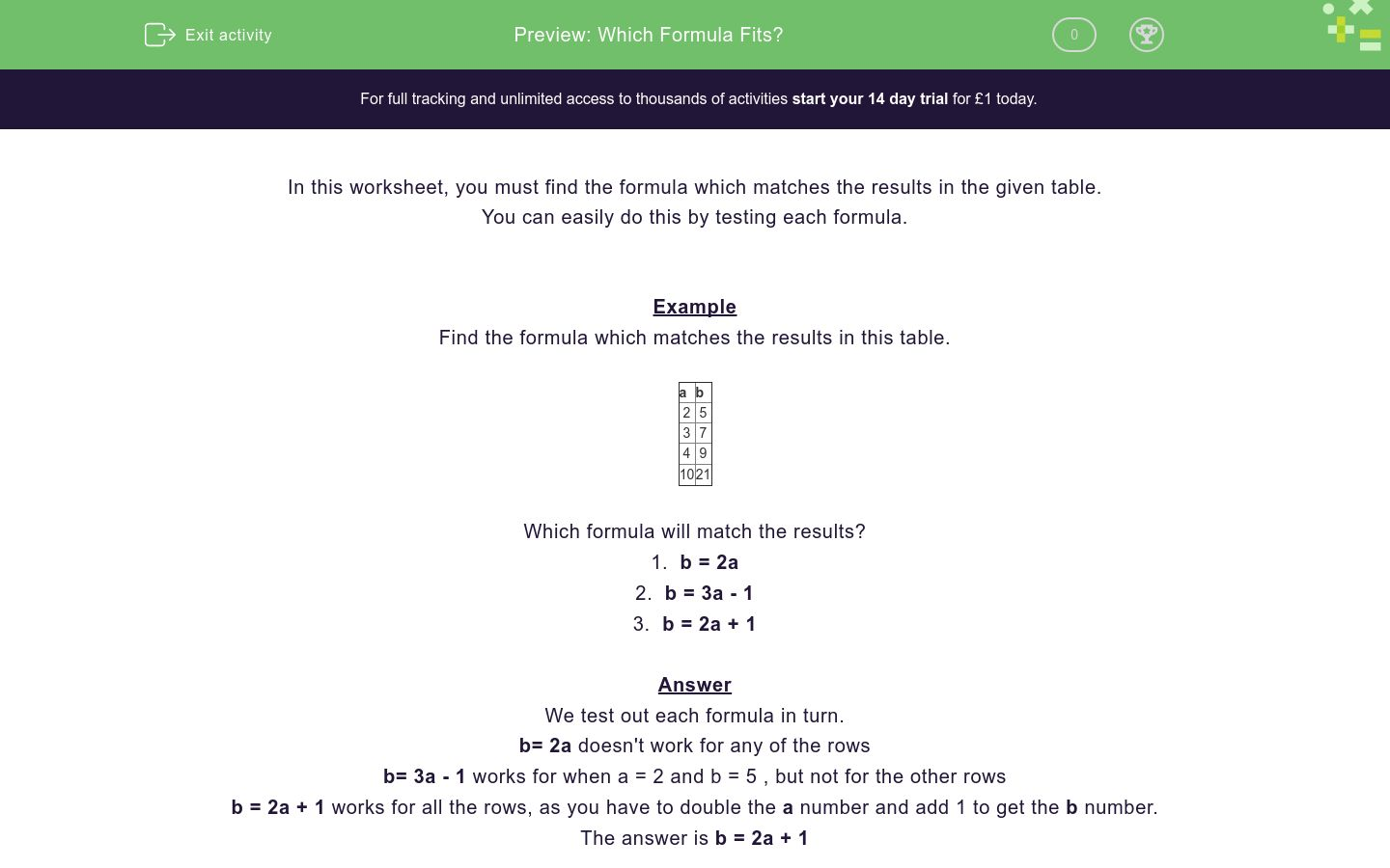 'Which Formula Fits?' worksheet