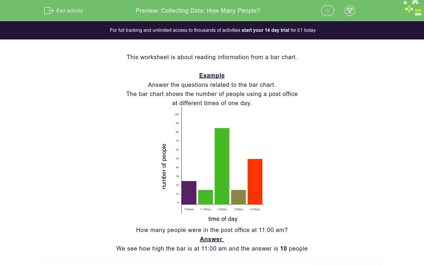 'Collecting Data: How Many People?' worksheet
