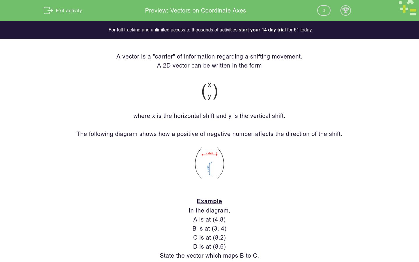 'Vectors on Coordinate Axes' worksheet