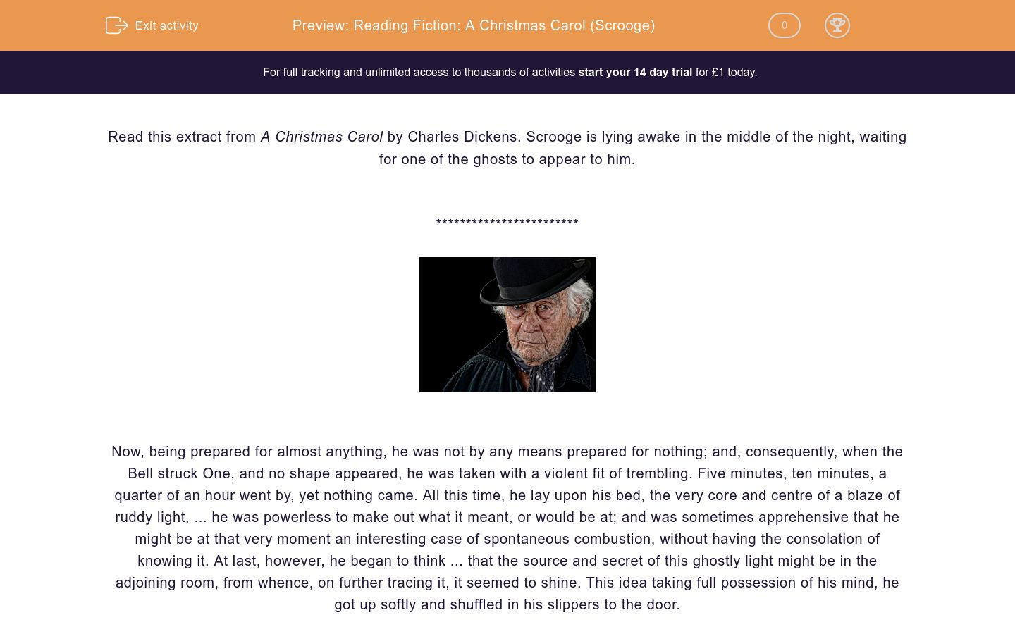 'Reading Fiction: A Christmas Carol (Scrooge)' worksheet