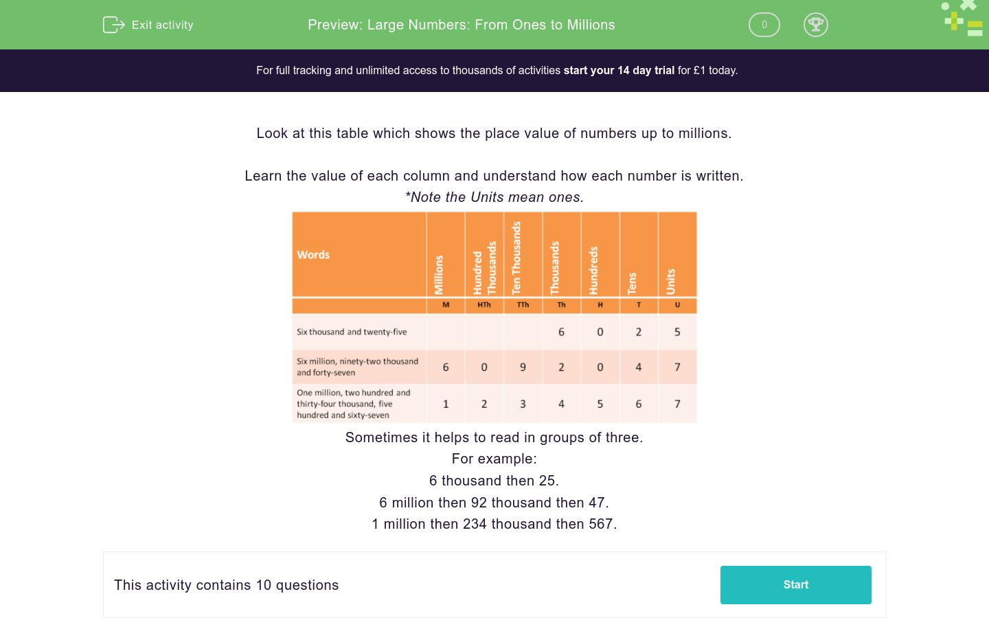 'Large Numbers: From Ones to Millions' worksheet