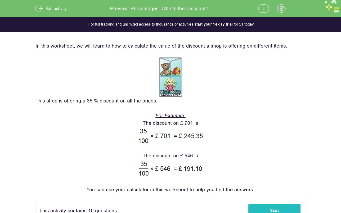 'Percentages: What's the Discount?' worksheet