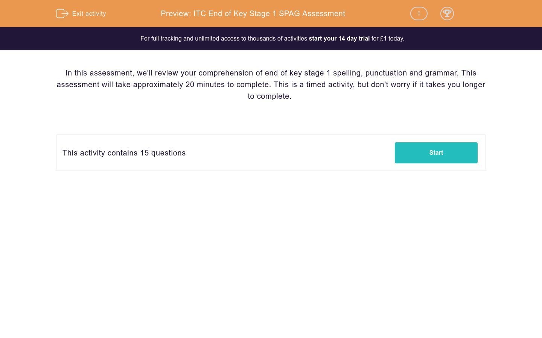 'ITC End of Key Stage 1 SPAG Assessment' worksheet