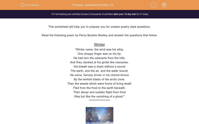 'Exam Preparation for Poetry 14' worksheet