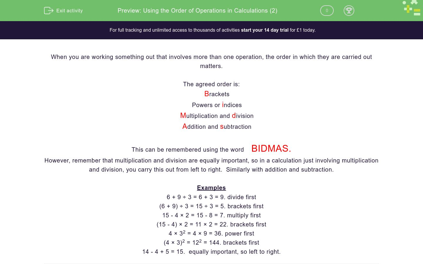 'Using the Order of Operations in Calculations (2)' worksheet