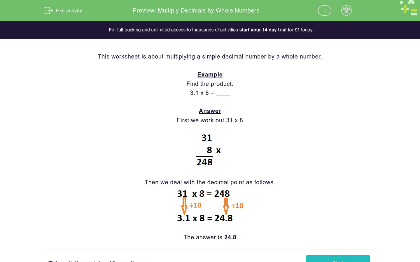 'Multiply Decimals by Whole Numbers' worksheet