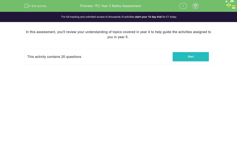 'ITC Year 5 Maths Assessment' worksheet