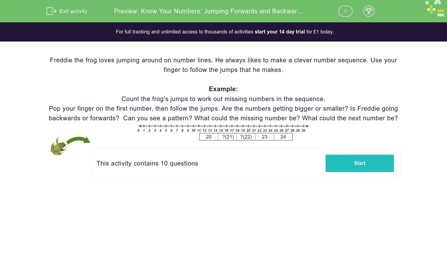 'Know Your Numbers: Jumping Forwards and Backwards in Ones' worksheet