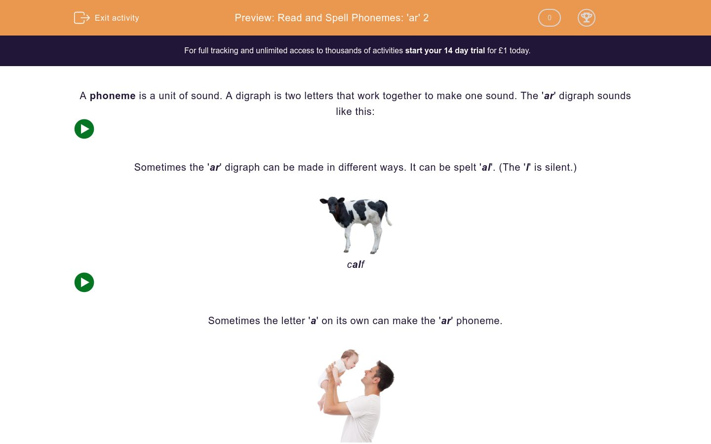 'Read and Spell Phonemes: 'ar' 2' worksheet