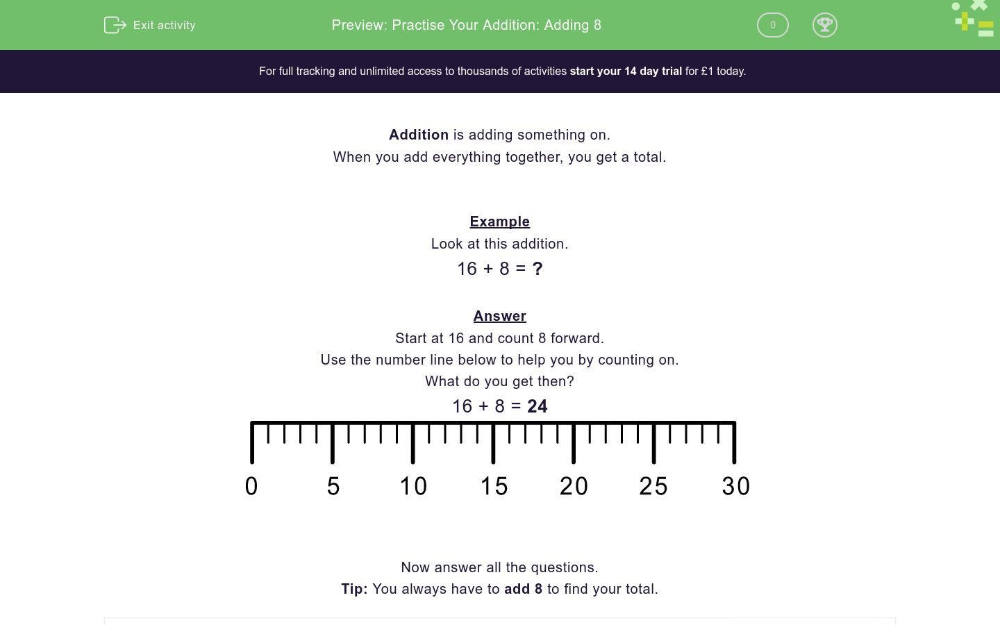 'Practise Your Addition: Adding 8' worksheet