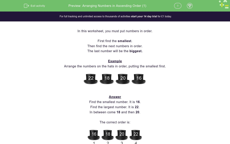 'Arranging Numbers in Ascending Order (1)' worksheet