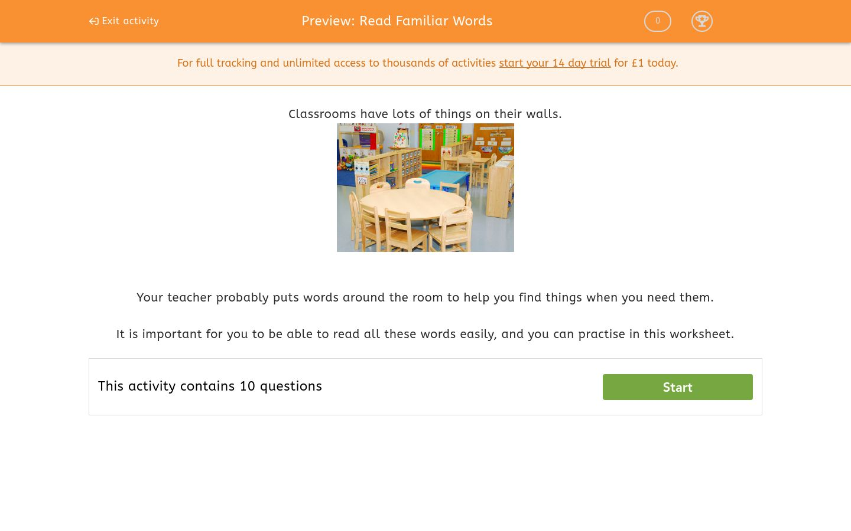 'Read Familiar Words' worksheet
