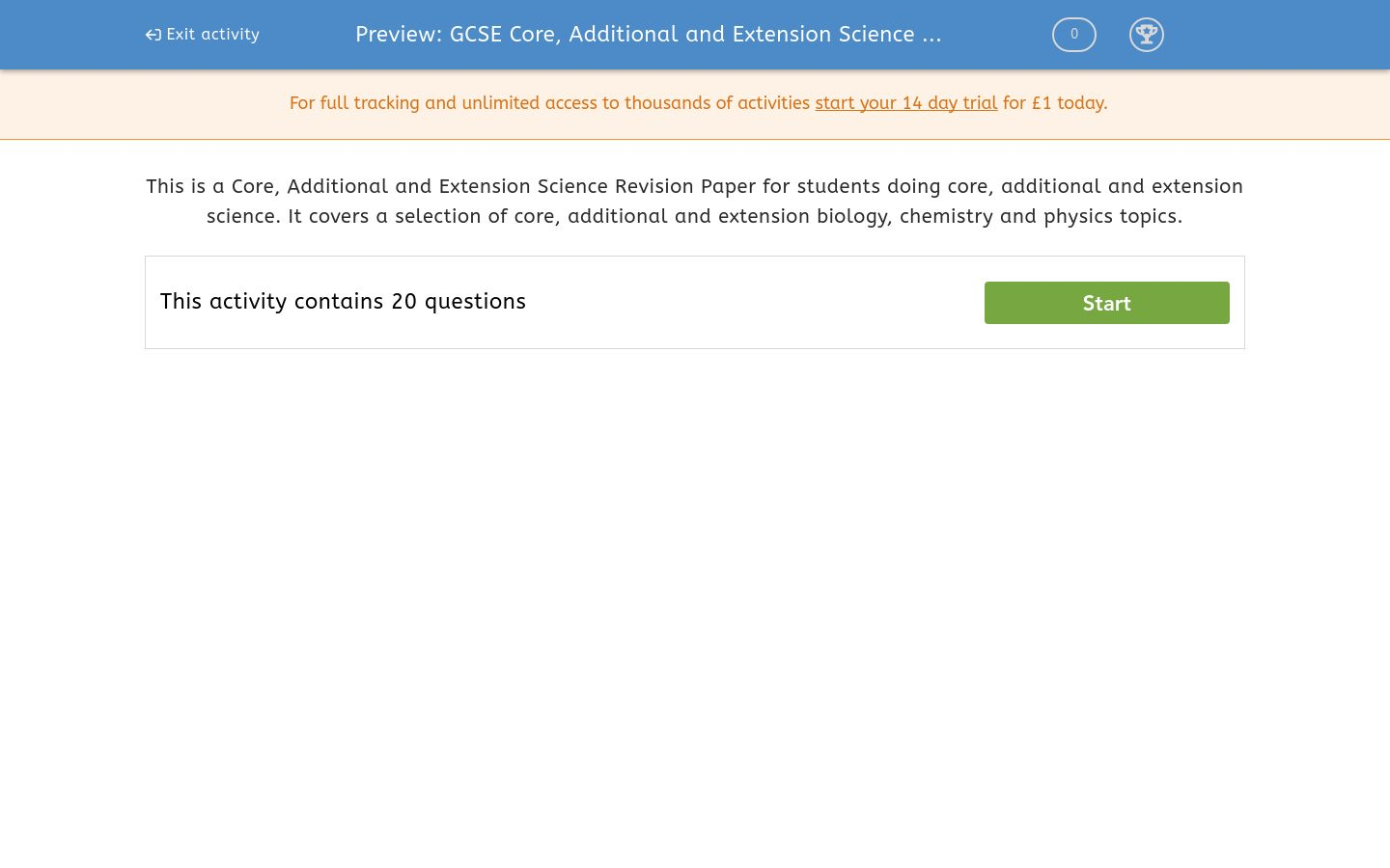 'GCSE Core, Additional and Extension Science Revision (2013)' worksheet
