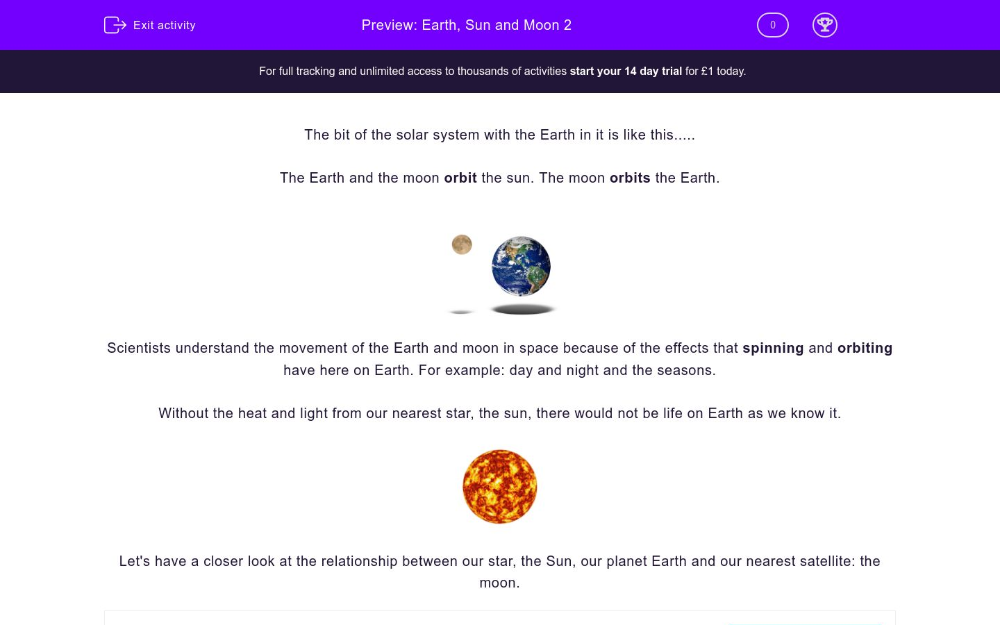 'Earth, Sun and Moon 2' worksheet