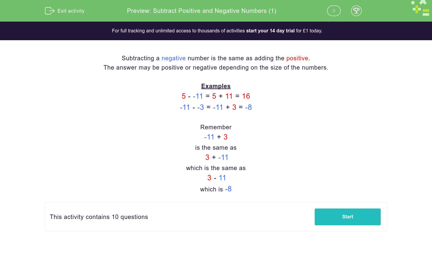 'Subtract Positive and Negative Numbers (1)' worksheet