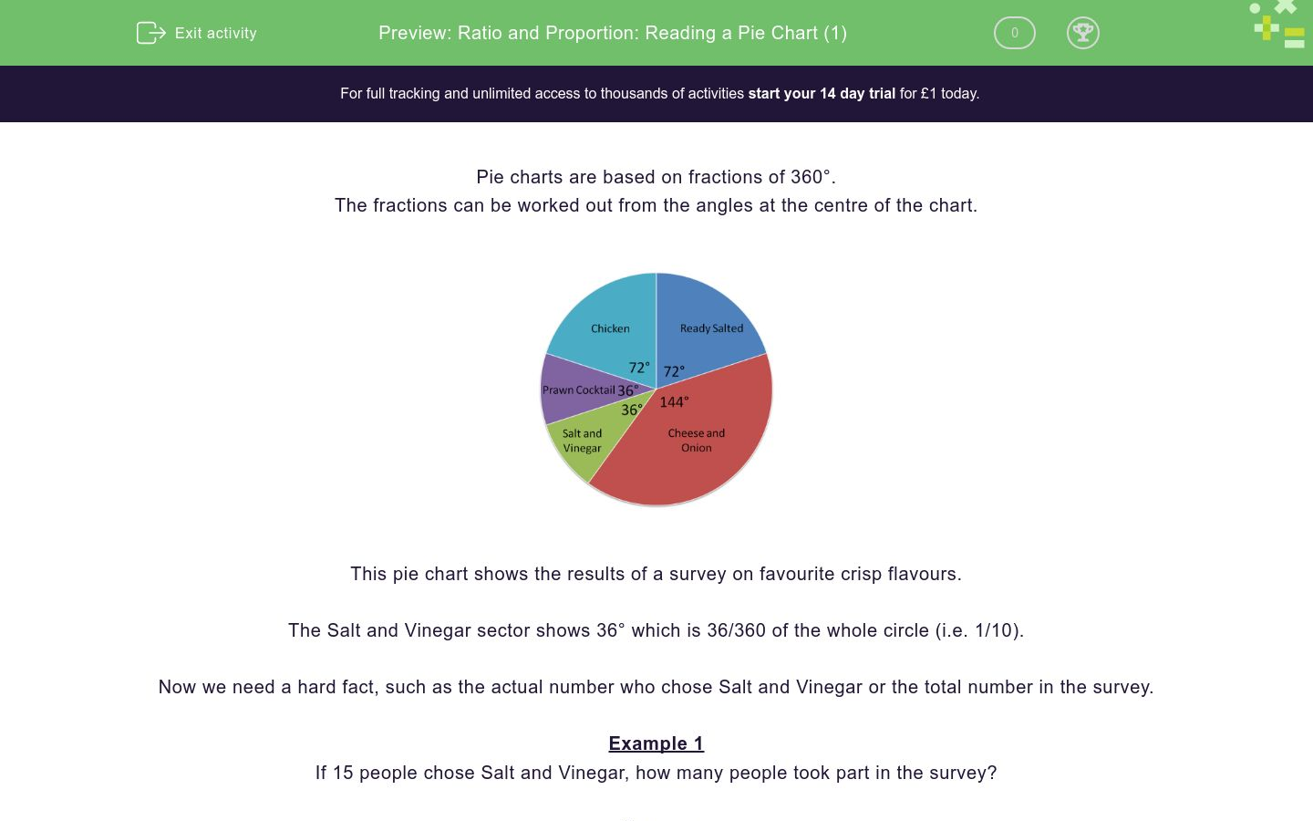 'Ratio and Proportion: Reading a Pie Chart (1)' worksheet